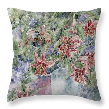 A Vase Of Lilies Throw Pillow by Kim Tran