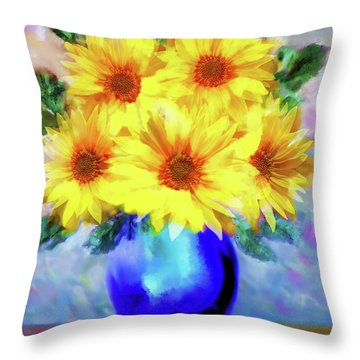 A Vase Of Sunflowers Throw Pillow