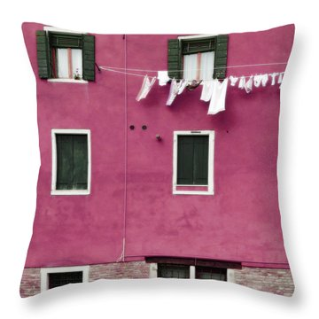 A Venetian View In Deep Pink With Laundry Throw Pillow