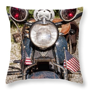A Very Old Indian Harley-davidson Throw Pillow