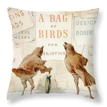 A Victorian Christmas Card Of Two Birds Looking At A Poster Of A Bag Of Birds For Christmas Throw Pillow