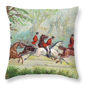A Victorian Greeting Card Of Fox Hunters Racing By While The Fox Hides In A Tree Throw Pillow