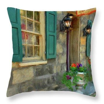 Throw Pillow featuring the digital art A Victorian Tea Room by Lois Bryan
