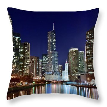 A View Down The Chicago River Throw Pillow by Frozen in Time Fine Art Photography