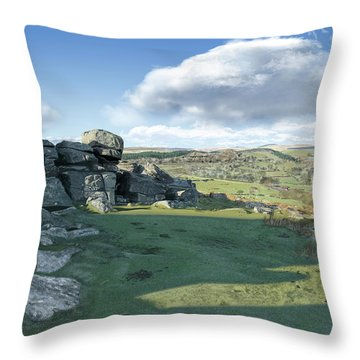 A View From Combestone Tor Throw Pillow