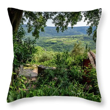 A View From Groznjan Of The Istrian Hill Town Countryside, Istria, Croatia Throw Pillow