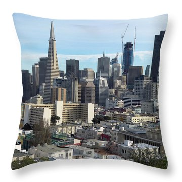 Throw Pillow featuring the photograph A View Of Downtown From Nob Hill by Steven Spak