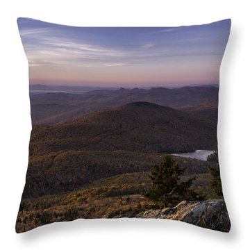 Throw Pillow featuring the photograph A View Of Grandmother Mountain And Lake by Ken Barrett