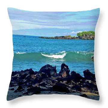 A View Of Maui From Wailea Bay Throw Pillow
