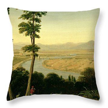 A View Of The Tiber And The Roman Campagna From Monte Mario Throw Pillow by William Linton