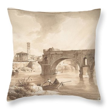 A View Of The Tiber From The North Bank Throw Pillow