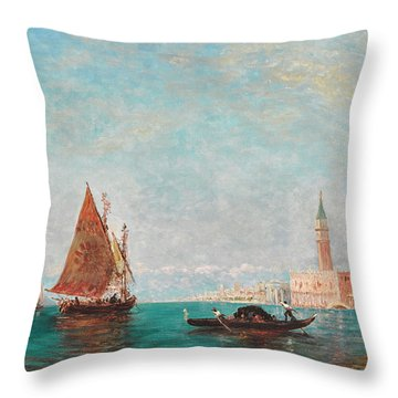 A View Of Venice With St. Mark's Beyond Throw Pillow
