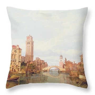A View Of Verona Throw Pillow by George Clarkson Stanfield