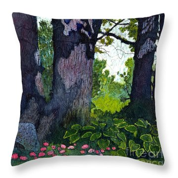 A View Through The Trees Watercolor Batik Throw Pillow