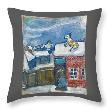 A Village In Winter Throw Pillow by Marc Chagall