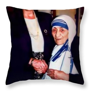 A Vist With Mother Teresa Throw Pillow