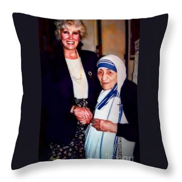 A Vist With Mother Teresa Throw Pillow