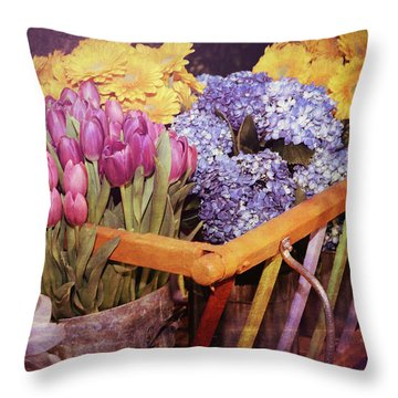 A Wagon Full Of Spring Throw Pillow
