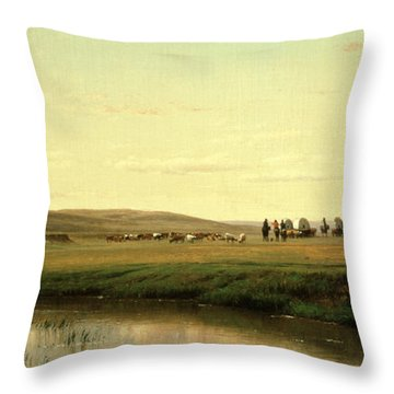 A Wagon Train On The Plains Throw Pillow by Thomas Worthington Whittredge