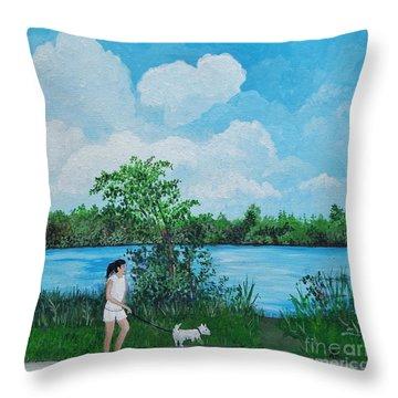 A Walk Along The River Throw Pillow