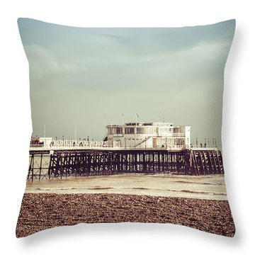 A Walk By The Pier Throw Pillow by David Warrington