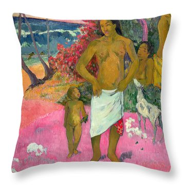 A Walk By The Sea Throw Pillow by Paul Gauguin