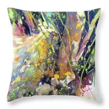 A Walk In The Forest Throw Pillow by Rae Andrews