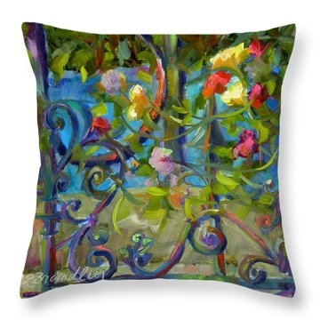 Throw Pillow featuring the painting A Walk In The Garden by Chris Brandley