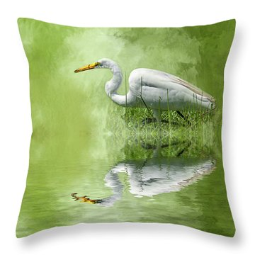 A Walk In The Marsh Throw Pillow by Cyndy Doty