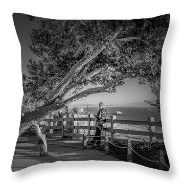 A Walk In The Park B And W Throw Pillow