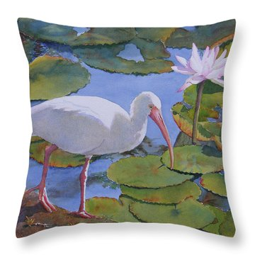 Throw Pillow featuring the painting A Walk In The Park by Judy Mercer