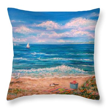 A Walk In The Sand Throw Pillow