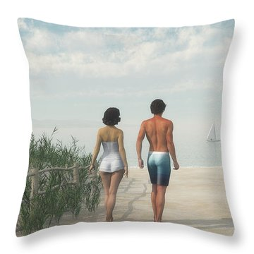 A Walk In The Sand Dunes Throw Pillow