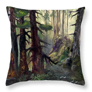 Throw Pillow featuring the painting A Walk In The Woods by Sherry Shipley