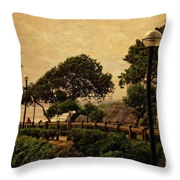 Throw Pillow featuring the photograph A Walk On The Edge - Peru by Mary Machare