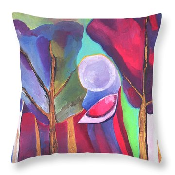 Throw Pillow featuring the painting A Walk Through The Dream by Linda Cull