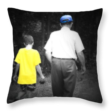 A Walk With Grandpa Throw Pillow by Cathy  Beharriell