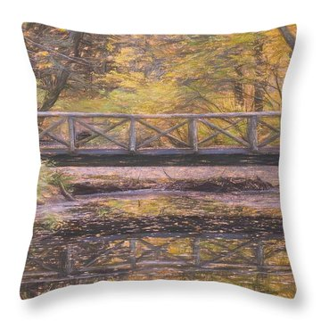 A Walking Bridge Reflection On Peaceful Flowing Water. Throw Pillow