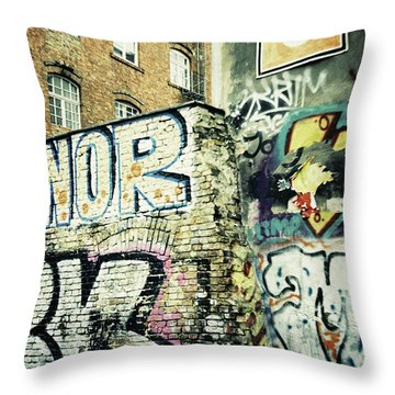 A Wall Of Berlin With Graffiti Throw Pillow