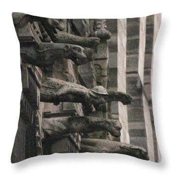A Wall Of Gargoyles Notre Dame Cathedral Throw Pillow