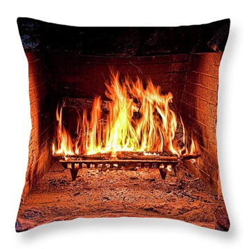 A Warm Hearth Throw Pillow