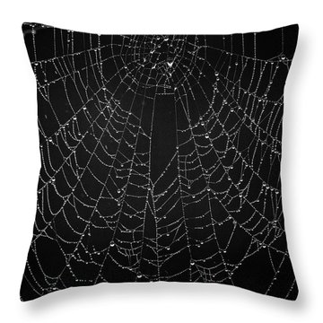 A Web Of Silver Pearls Throw Pillow