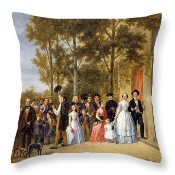A Wedding At The Coeur Volant Throw Pillow by French School