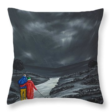 Throw Pillow featuring the painting A Wee Bijou Strollette by Scott Wilmot