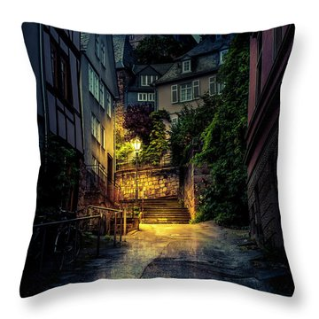 Throw Pillow featuring the photograph A Wet Evening In Marburg by David Morefield