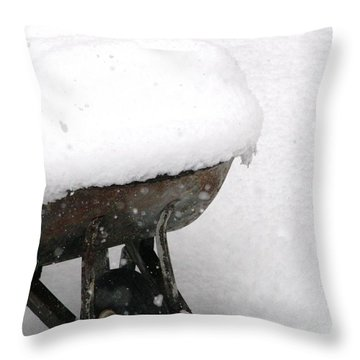 A Wheel Barrel Of Snow Throw Pillow