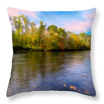 A Wide Scenic View Of Shetucket River. Throw Pillow