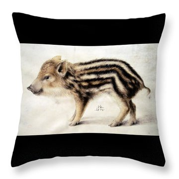 A Wild Boar Piglet Throw Pillow