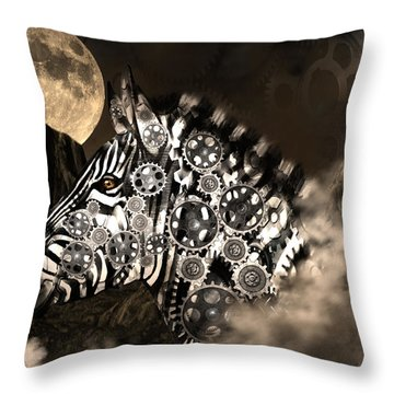 A Wild Steampunk Zebra Throw Pillow