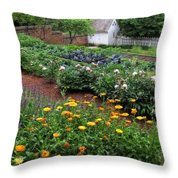 A Williamsburg Garden Throw Pillow